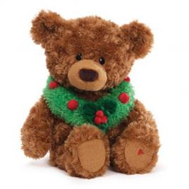 Tidings - musical & light up bear with Wreath