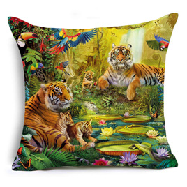 Tiger Family Cushion Cover