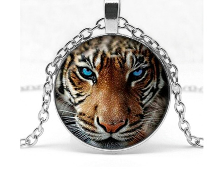 Tiger Glass Pendant Necklace - Silver Chain