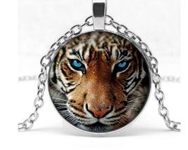 Tiger Glass Pendant Necklace - Silver Chain