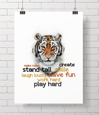 tiger with quote