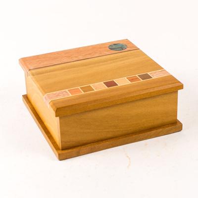 Timber Art Kiwi Trinket Box with Paua