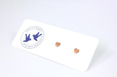 Tiny Copper Heart Studs