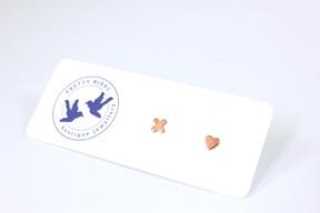 Tiny Copper Kiss Heart Studs