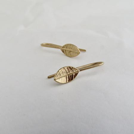Tiny Leaf Drop Earrings - Gold Plate