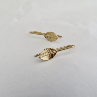 Tiny Leaf Drop Earrings - Gold Plate