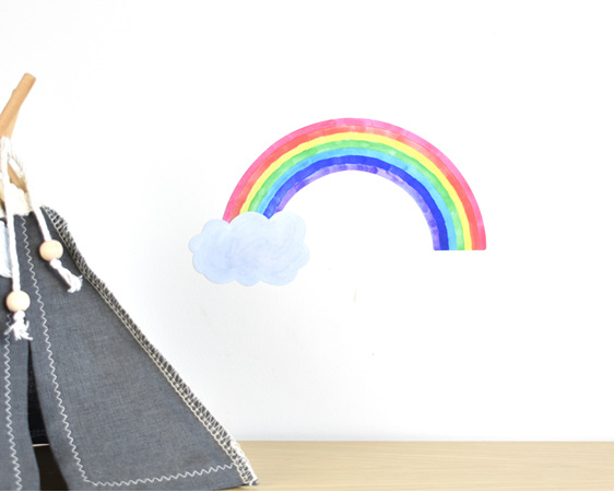 Tiny rainbow wall decal