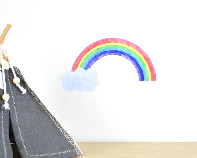 Tiny rainbow wall decal