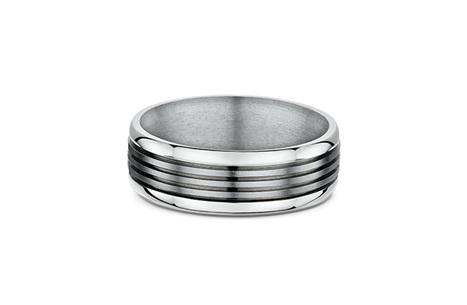 8mm Black Titanium Wedding Ring With Beveled Edges Northern