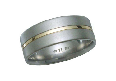 Titanium and Gold Groove Inlay Ring