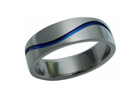 Titanium Ring with Blue Wave Groove