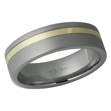 Titanium Ring with Offset Yellow Gold Groove Inlay