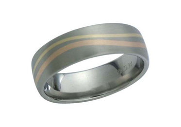 Titanium Ring with Rose and Yellow Gold Wave Inlay