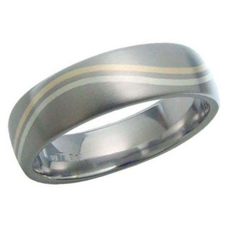Titanium Ring with White and Yellow Gold Wave Inlay