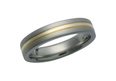 Titanium Ring with Yellow Gold Inlay