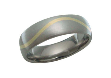 Titanium Ring with Yellow Gold Wave