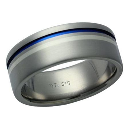 Titanium Silver Blue Groove Ring