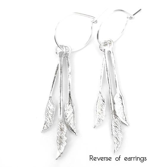 toetoe toi toi botanical native grass hoop earrings sterling silver kinetic