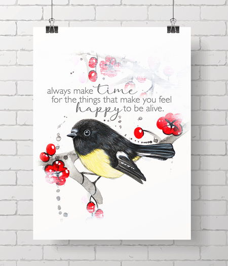 tomtit with quote - on A3