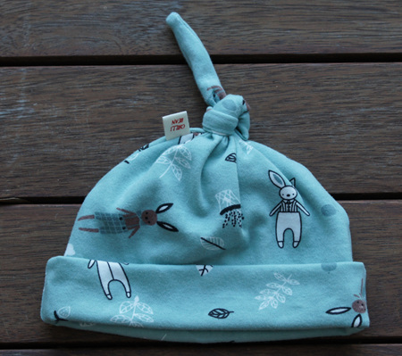Top Knot Beanie, 'Cosy Bunnies' 100% Cotton, 3-6 months