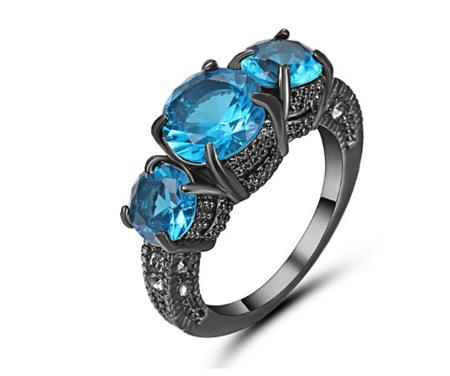 Topaz Gemstone With Gunmetal Band Ring Size US9
