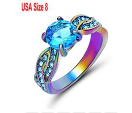 Topaz Gemstone With Rainbow Band Ring Size US8