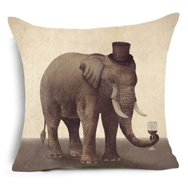 Tophat-Wearing, WineGlass-Holding Gentleman Elephant Cushion Cover