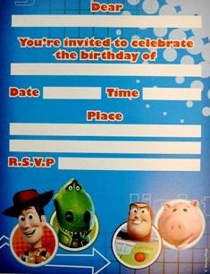 Toy Story 3 Invites