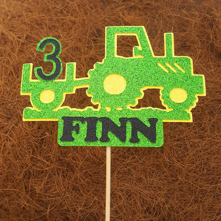 Tractor Cake topper glitter card personalised custom birthday boy