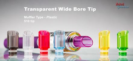 Transparent Wide Bore Tip - Muffler Type - Plastic