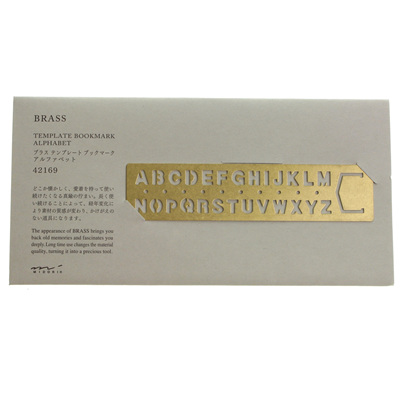 Traveler's Company Brass Template Bookmark - Alphabet
