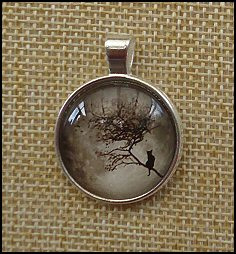 Tree Of Life Glass Dome Key Ring