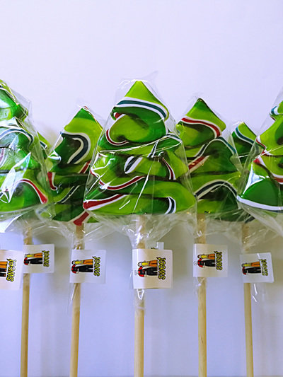 TREE POP, GREEN-RED-BLUE , PINEAPPLE AND LIME , 8CM