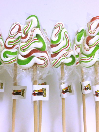 TREE POP , WHITE -RED -GREEN , MINT FLAVOUR 8CM