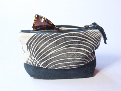 Tree Rings Pouch with Leather Detail