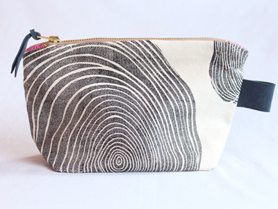 Tree Rings Pouch with Leather Tab