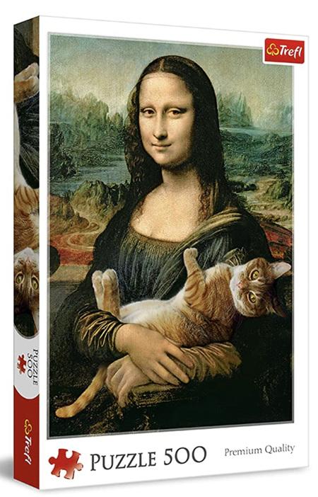 Trefl 500 Piece Jigsaw Puzzle: Mona Lisa & Purring Kitty