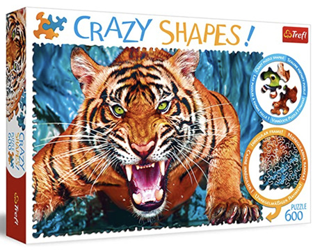 Trefl 600 Piece 'Crazy Shapes' Jigsaw Puzzle: Facing A Tiger