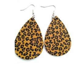 Trendy Faux Leather Drop Earrings - Animal Print