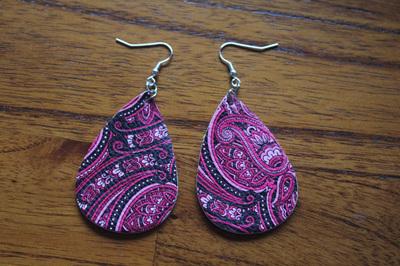 Trendy Faux Leather Drop Earrings Style 7