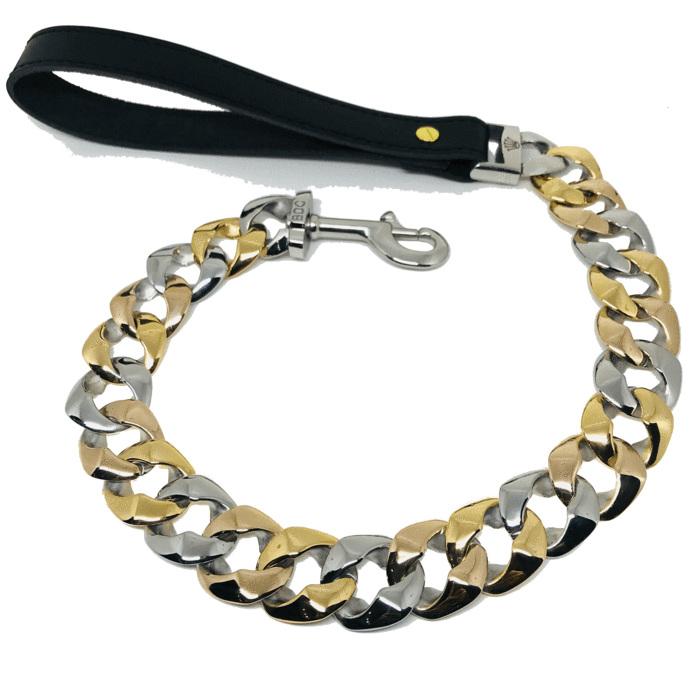 Tri Colour Tone Cuban Link Dog Leash by Big Dog Chains