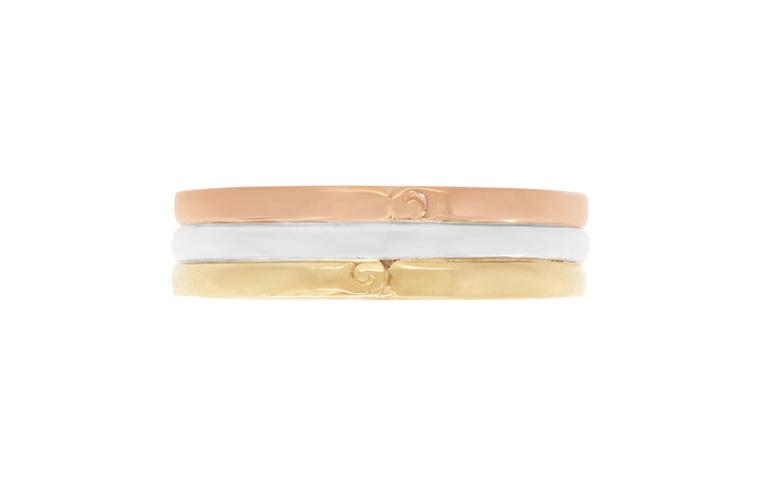 Tri-tone mens wedding ring with koru motif detailing yellow white and rose gold