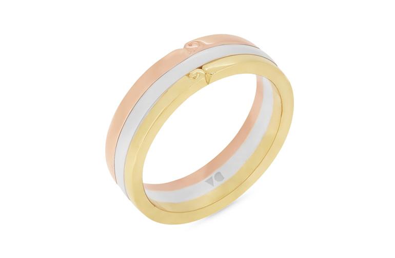 Tri-tone mens wedding ring with koru motif detailing