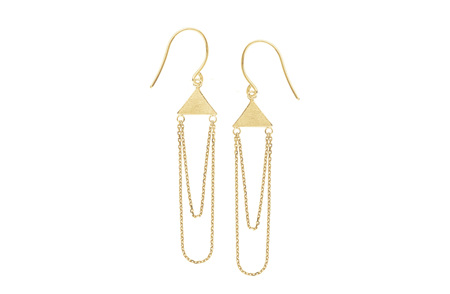 Triangle and Chain Gold Earrings