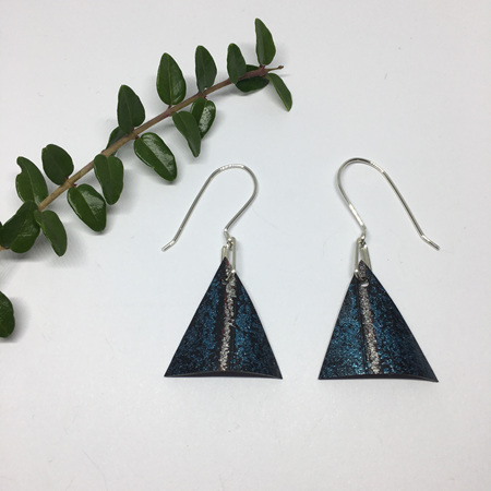 Triangle Earrings with Blue & Silver