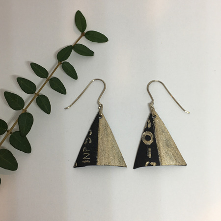 Triangle Earrings with Gold & Text