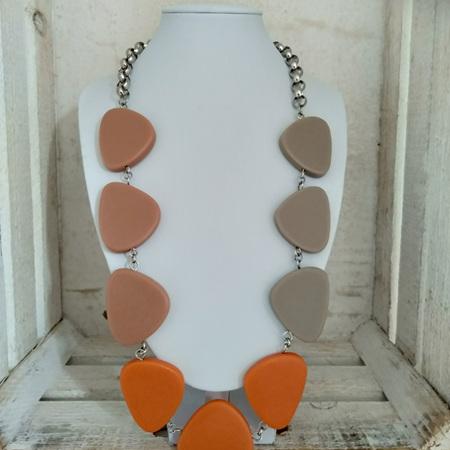 Triangle Necklace - Stone, Burnt Orange & Earth