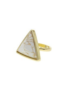 Triangle White Stone Ring