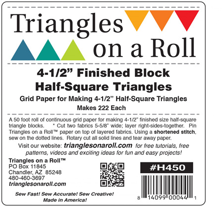 "Triangles on a Roll - 4 1/2"" Half Square Triangle Paper"