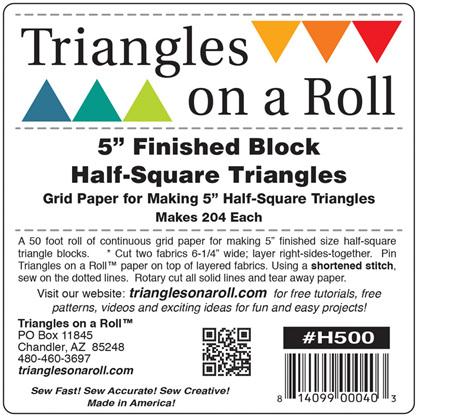 "Triangles on a Roll - 5"" Half Square Triangle Paper"